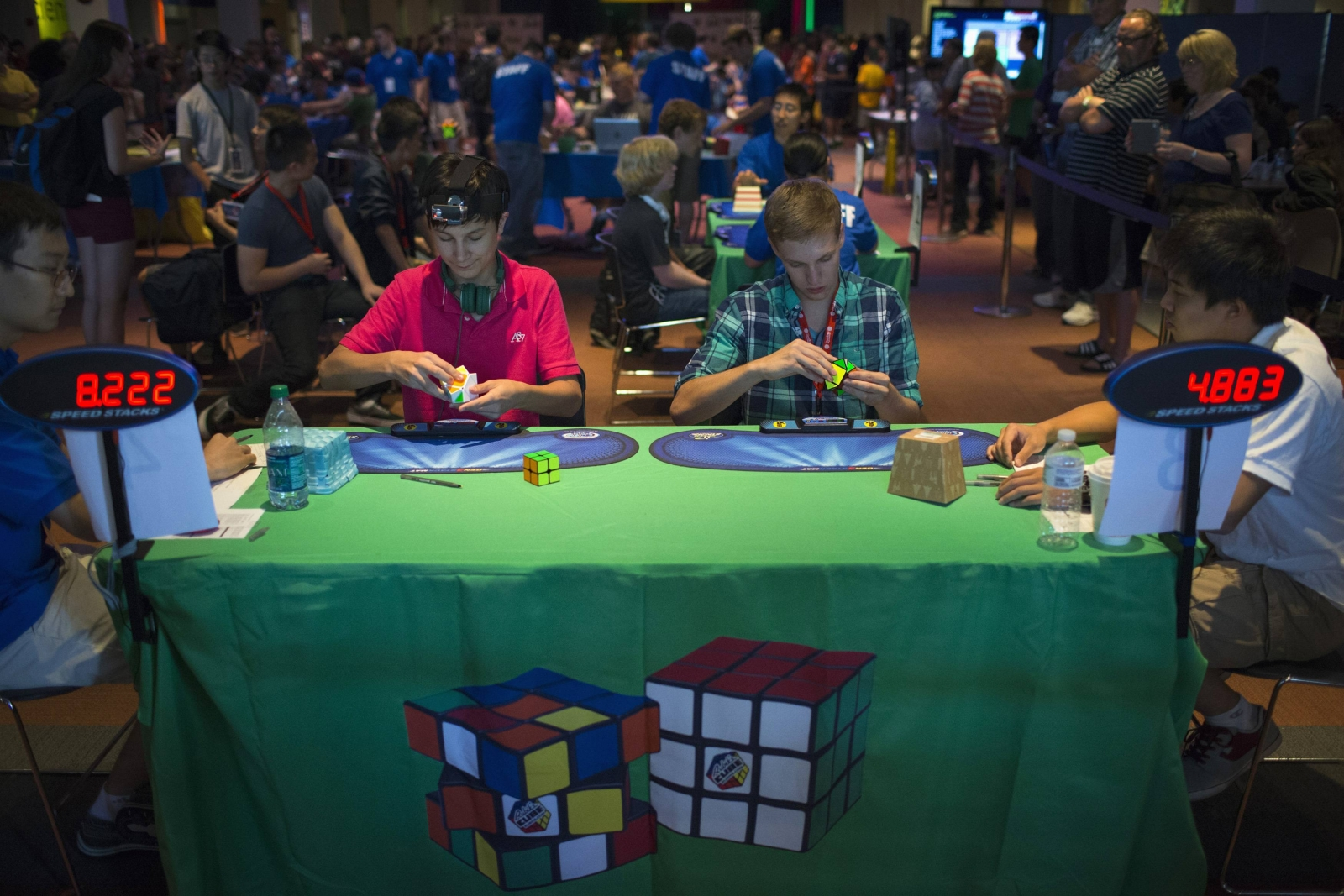 Participants compete at the National Rubiks Cube Championship.
