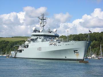 HMS Enterprise at anchor in Dartmouth