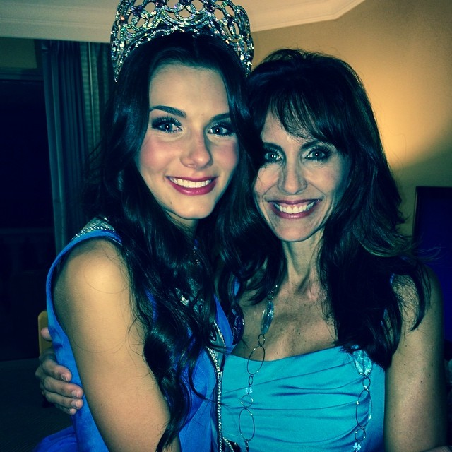 Miss South Carolina K. Lee Graham who was crowned Miss Teen USA 2014, poses with her mother after her pageant.