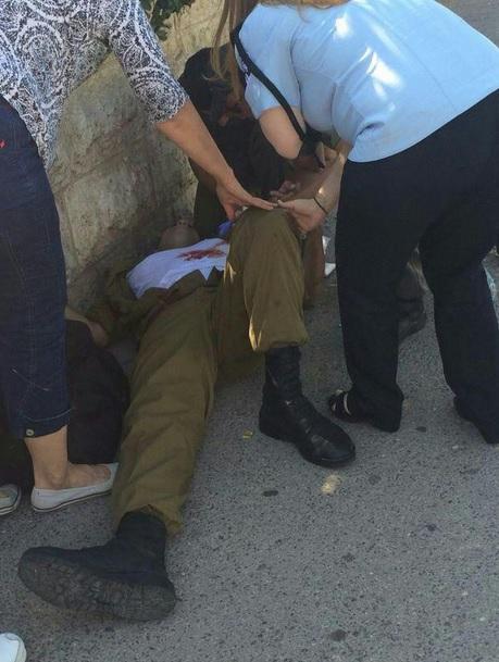 Injured IDF soldier at the scene