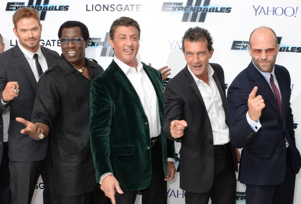 Kellan Lutz, Wesley Snipes, Sylvester Stallone, Antonio Banderas and Jason Statham attend the World Premiere of 'The Expendables 3' at Odeon Leicester Square on August 4, 2014 in London, England.