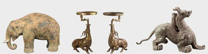 Bronze elephant and rhinoceros sculptures found in Liu Fei's tomb