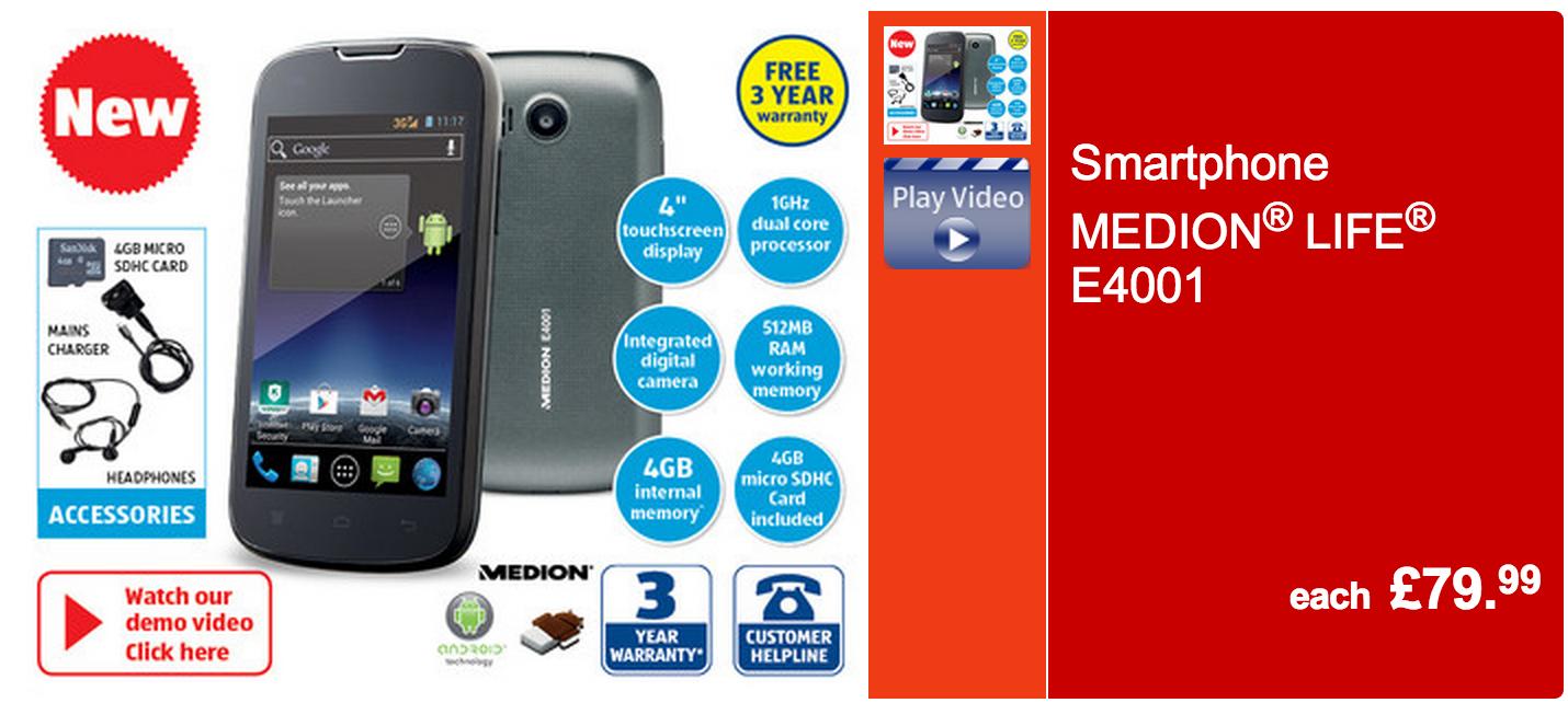 Aldi Medion Life £80 Smartphone