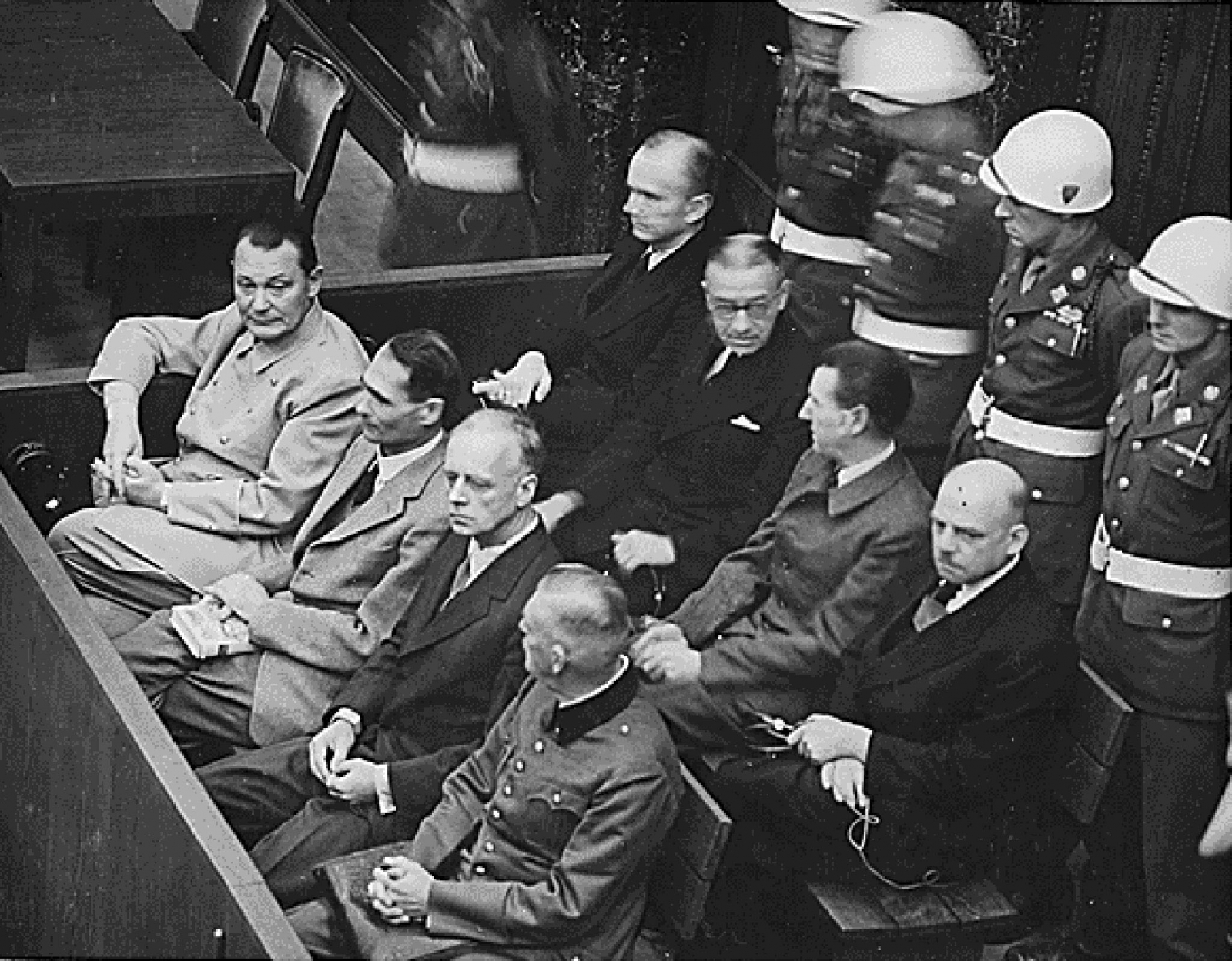 Nazi defendants (L-R front row) Hermann G?ring, Rudolf Hess, Joachim von Ribbentrop and Wilhelm Keitel sit in the dock of their war crimes trial at Nuremberg circa 1945-1946.