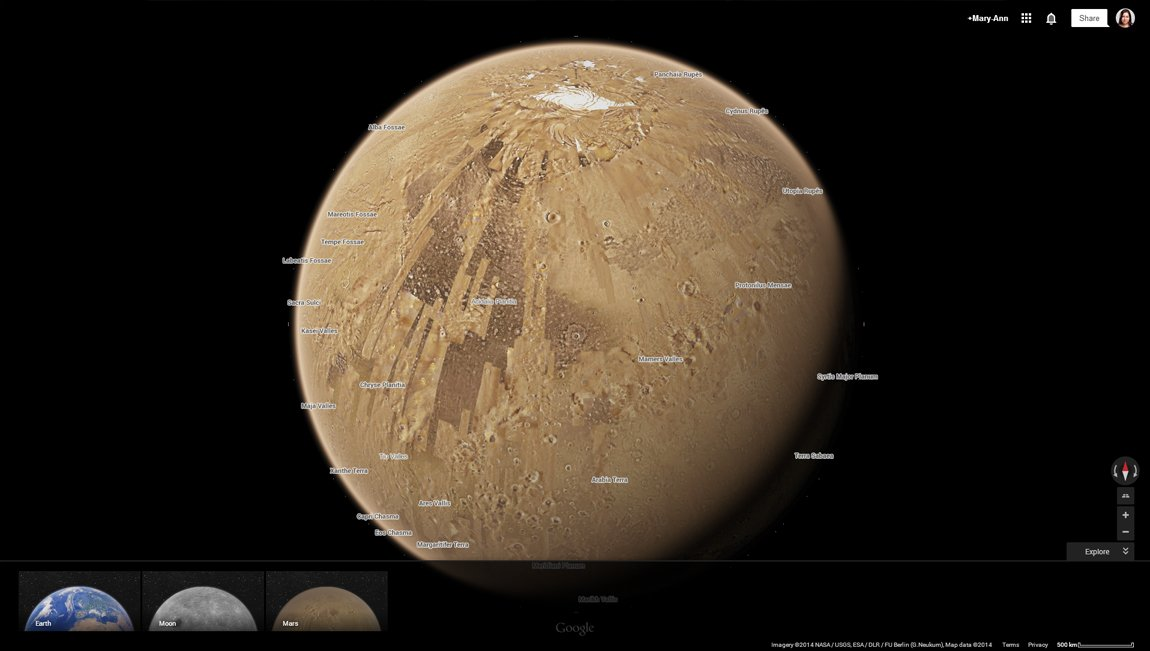 Google maps space and ufo fans can now take a virtual tour of mars google earth has added the planet mars to its software gumiabroncs Gallery