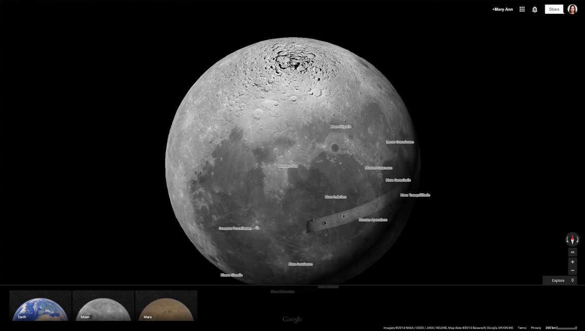 Now you can visit the Moon on Google Earth, although it's still in black and white