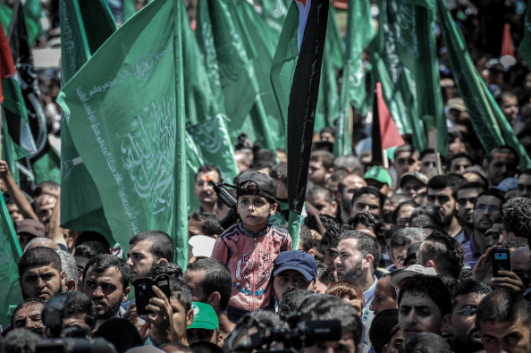 Pro-Hamas Palestinians gathering to support Palestinian Committee in Gaza