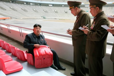 Kim Jong-un looking at things