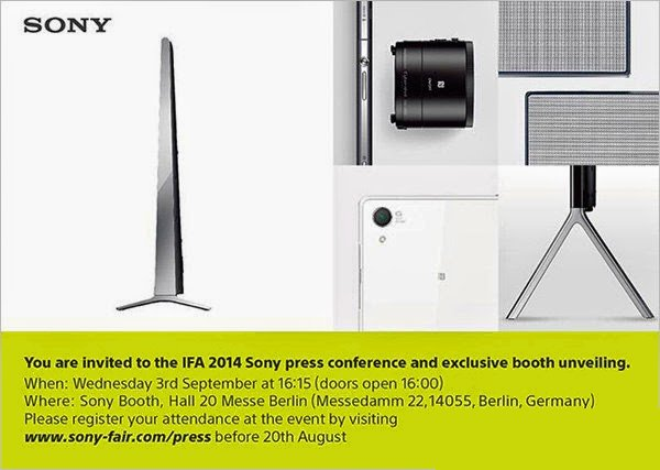 Sony IFA Press Event Invite Leaks, Hints at Xperia Z3 Launch Along With Z3 Compact and More