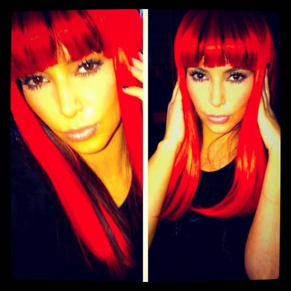 Kim Kardashian in red wig.