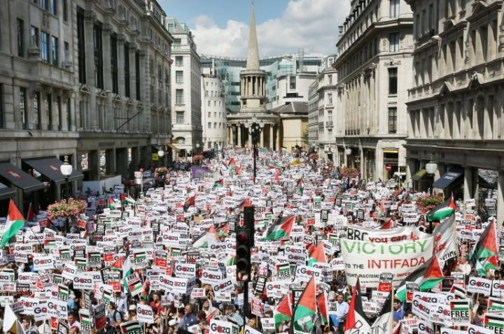 Protest at Gaza conflict started from BBC Broadcasting House in London.