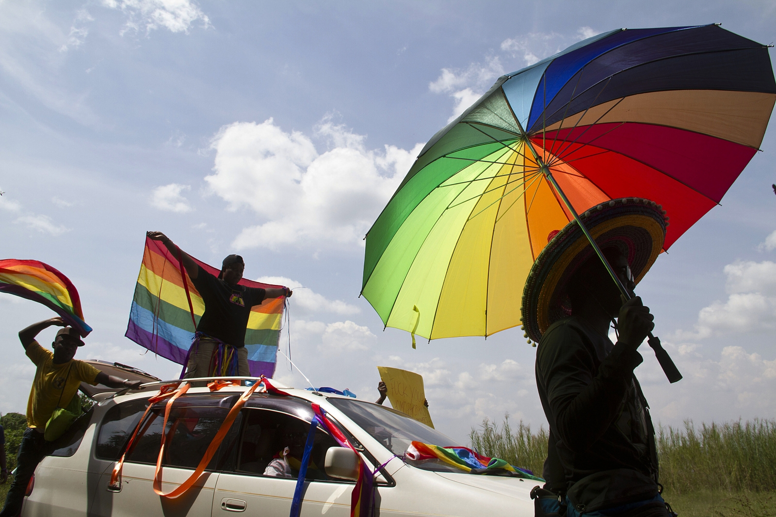 Ugandan's gather in Entebbe for the first gay pride rally since anti-homosexual legislation was repealed. (Getty Isaac Kasamani)