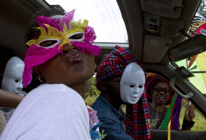 Ugandan's gather in Entebbe for the first gay pride rally since anti-homosexual legislation was repealed. (Getty Isaac Kasamani