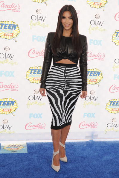 Kim Kardashian arrives at the 2014 Teen Choice Awards at The Shrine Auditorium on August 10, 2014 in Los Angeles, California.