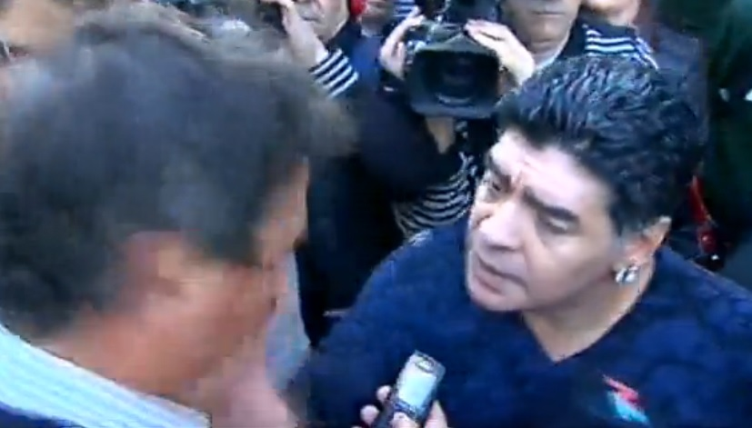 Diego Maradona didn't like it when a reporter made eyes at his former lover