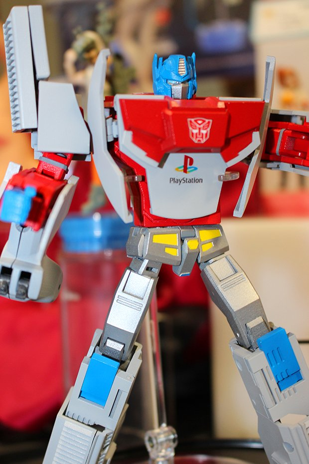 Optimus Prime toy that transforms into iconic PlayStation console