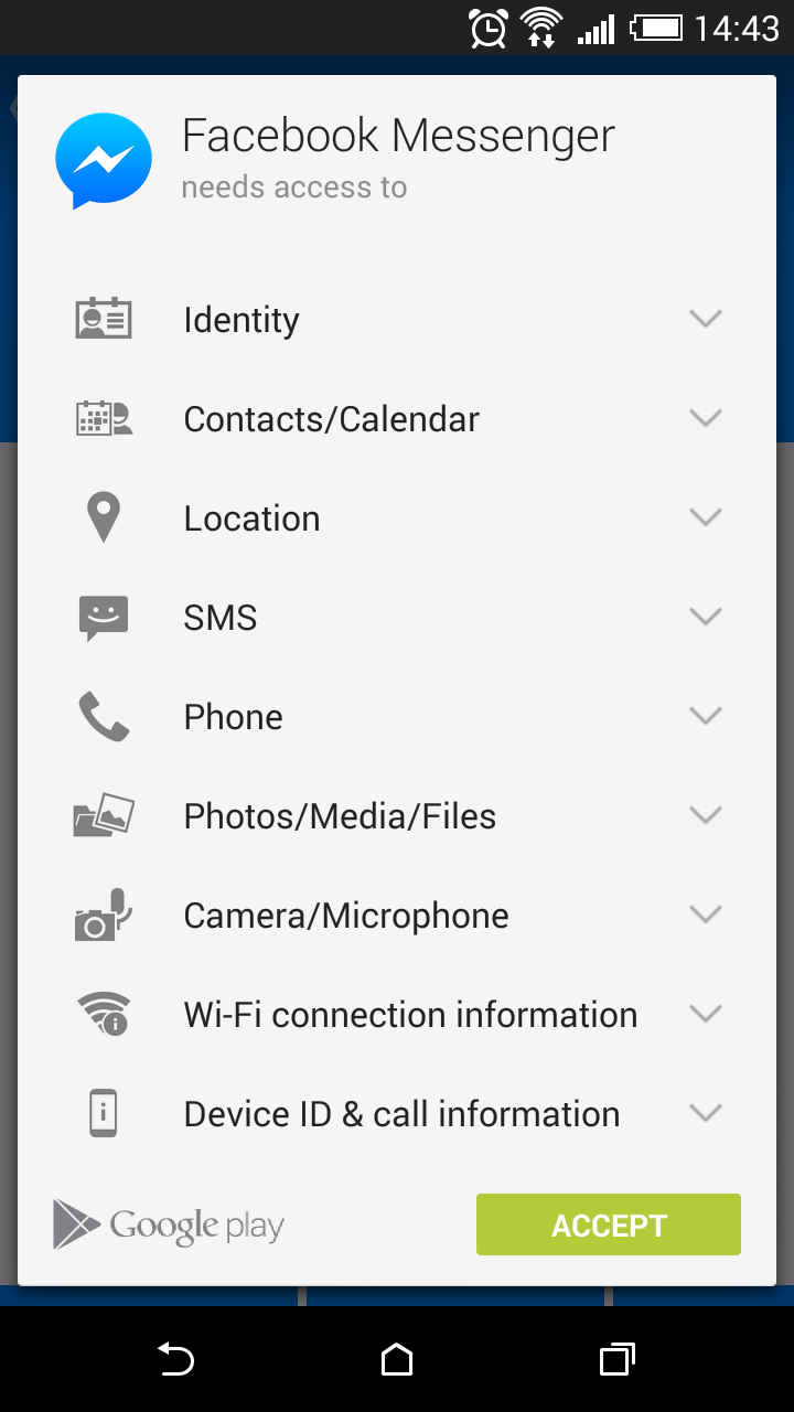 Facebook Messenger App Permissions on Android