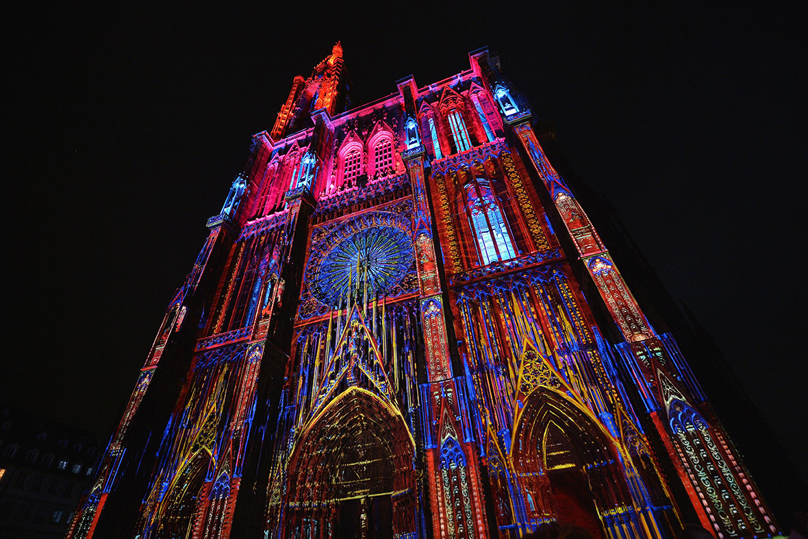 cathedral illuminated
