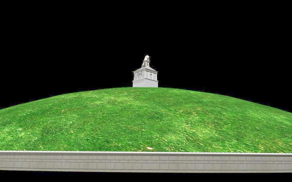A 3D computer rendering of what the ancient Amphipolis tomb on Kasta Hill might have once looked like