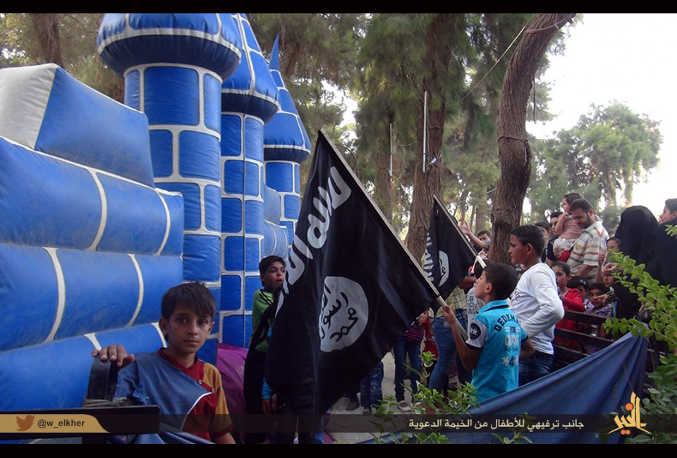 Tweet from Isis, showing a bouncy castle they set up for children in al-Muyadeen, Syria. (Twitter)