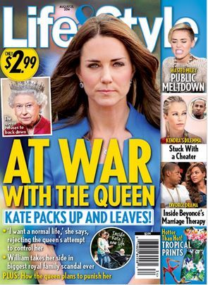 Life & Style magazine, 25 August issue says Kate Middleton is at