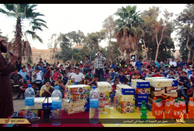 Tweet from Isis, showing a fair for children in al-Muyadeen, Syria. (Twitter)