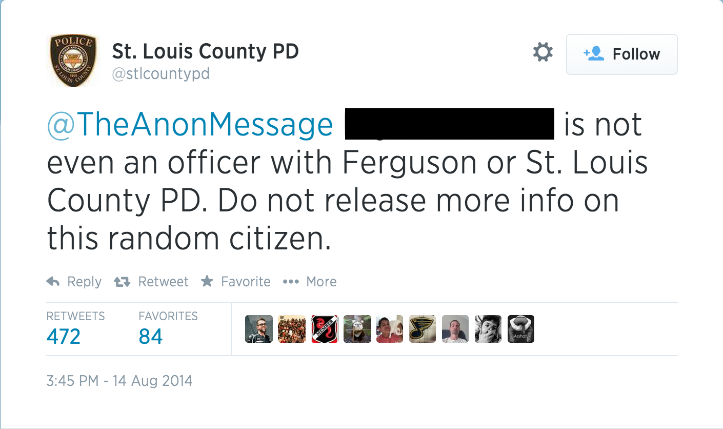 Ferguson Police Tweet to Deny Anonymous Claims
