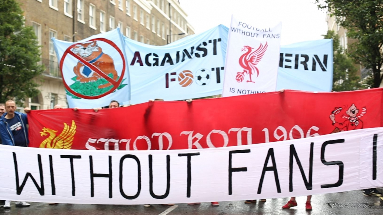 Football Fans Protest Outside Premier League Headquarters Over Rising Ticket Prices
