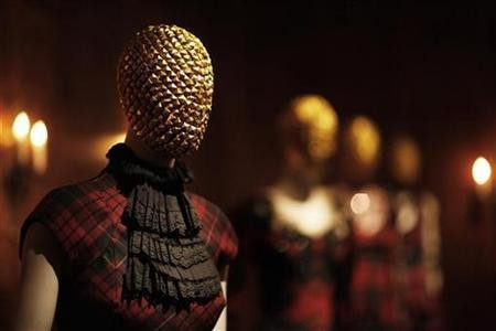 Creations by the late British designer Alexander McQueen​ are displayed during a preview at the Metropolitan Museum of Art in New York, May 2, 2011.