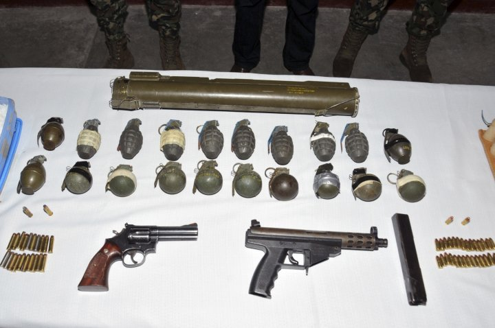 Weapons seized from a Zetas cartel trafficker by mexican police in 2012. (Reuters)