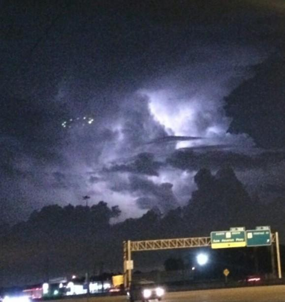 UFO Sighted During RainStorm over Houston Sky