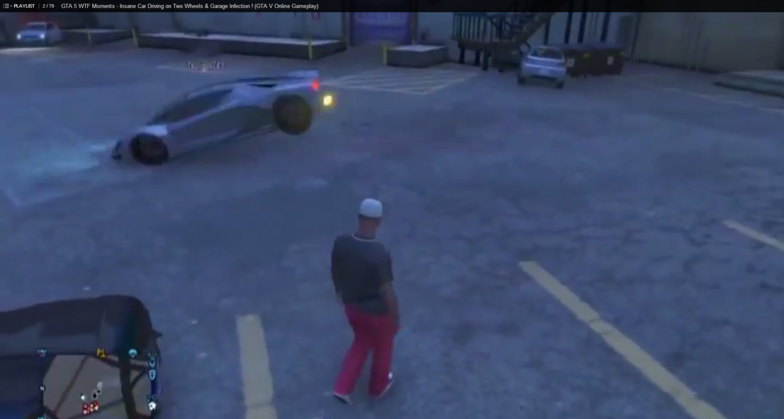 GTA 5 WTF Moments: Insane Car Driving on Two Wheels and Garage Infection