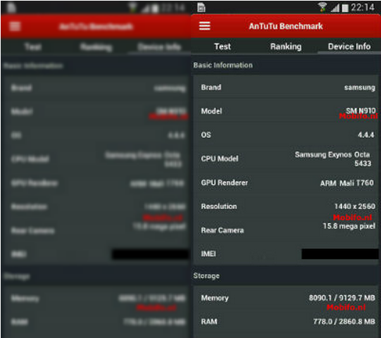 Galaxy Note 4 Specifications Spotted Again via New AnTuTu Benchmark Screenshot