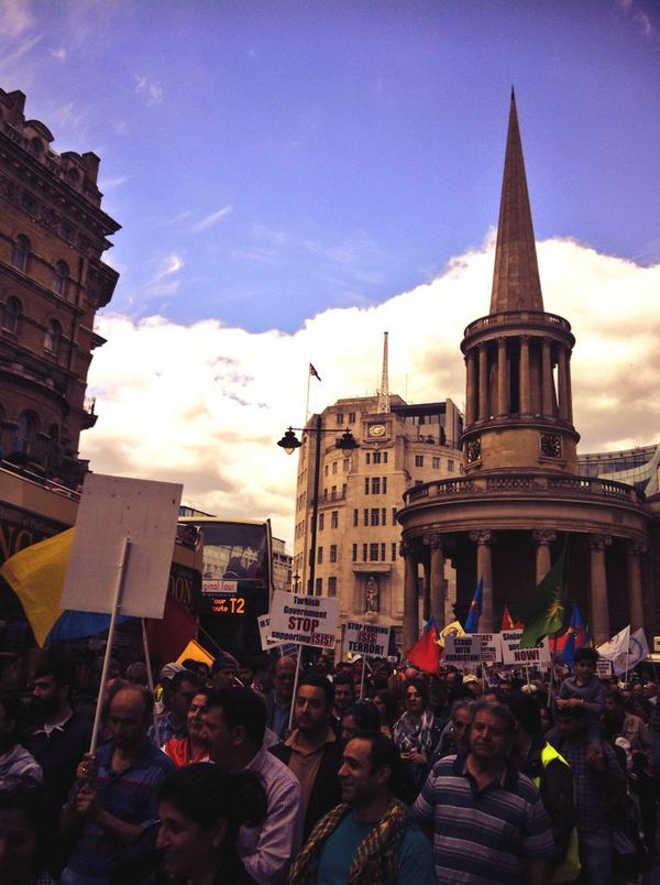 Hundreds took part in a London demonstration to protest at Isis attacks in Iraq.