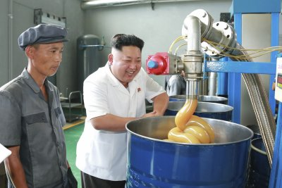 Kim Jong Un at the Chonji Lubricant Factory