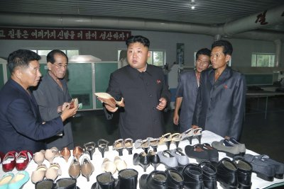 Kim Jong Un at the Wonsan Shoe Factory