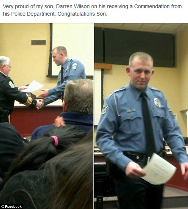 Darren Wilson receives a commendation, in a photograph uploaded onto Facebook by his father. (Facebook)