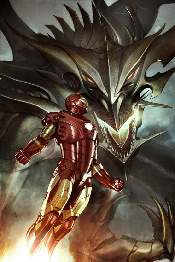 Iron Man battles Marvel villain Fing Fang Foom (comic-art)