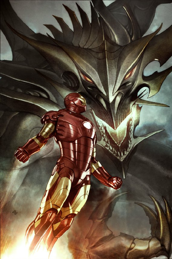 Iron Man battles Marvel villain Fing Fang Foom (comic-art)