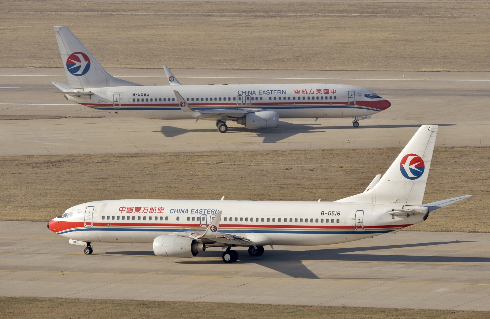 China Eastern Airlines Boeing 737-800 planes are seen at an airport in Taiyuan, Shanxi province