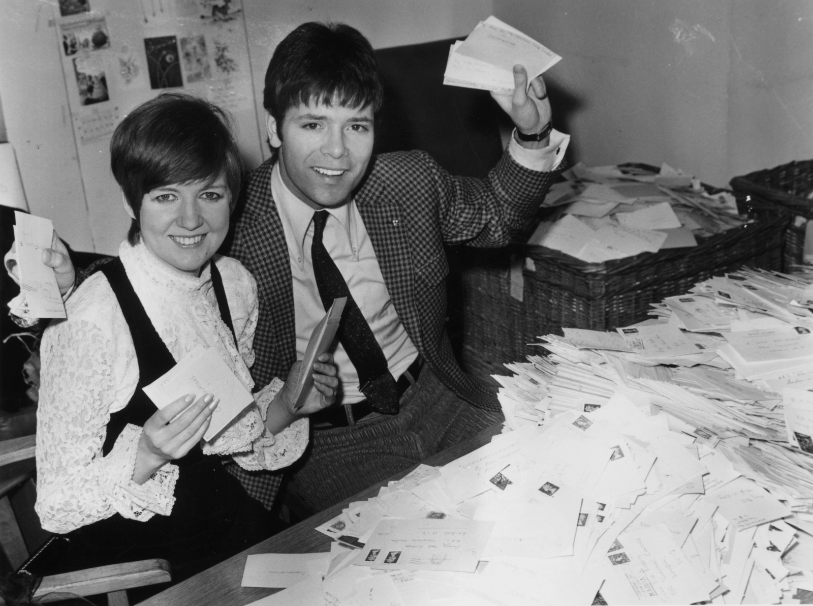 Cilla Black and Cliff Richard's friendship spans decades: In this photo the pair count the 'Song for Europe' votes in 1968