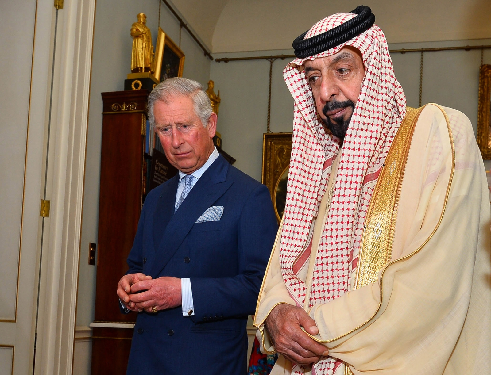 Prince Charles, Prince of Wales meets with President of the United Arab Emirates, Sheikh Khalifa bin Zayed Al Nahyan during his visit to Clarence House on May 1, 2013