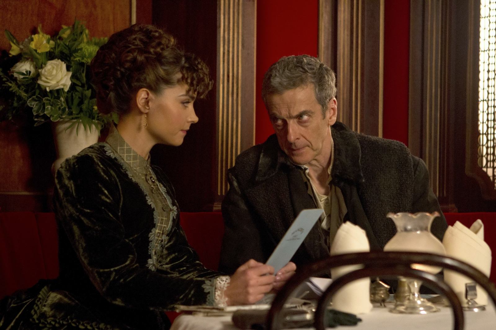 Peter Capaldi and Jemma Coleman star as the 12 Doctor and his companion in Deep Breath, the first episode of the new series of Doctor Who