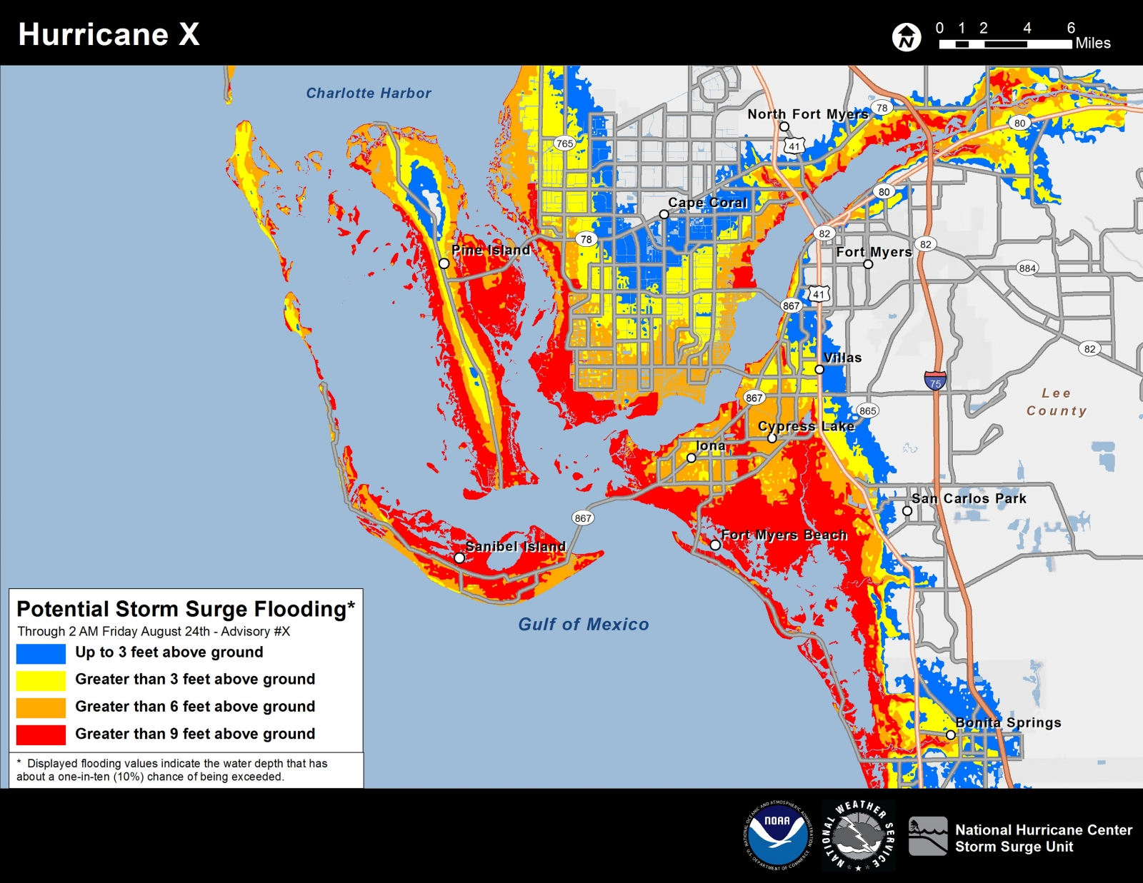An example of the new experimental storm surge potential flooding map showing southwest Florida.