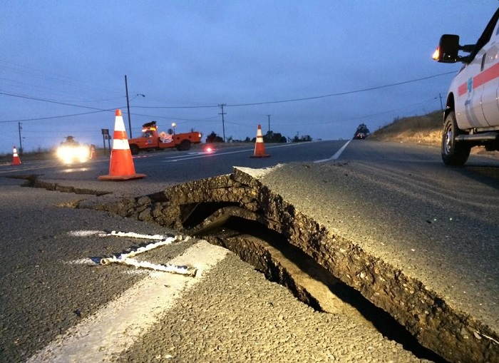 Severe damage to roads after Northern California's earthquake, which is the worst to hit the region in 25 years, according to the US Geological Survey.