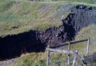 Fears are mounting that the 200ft-deep sinkhole in County Durham, northern England could get bigger with torrential downpours.
