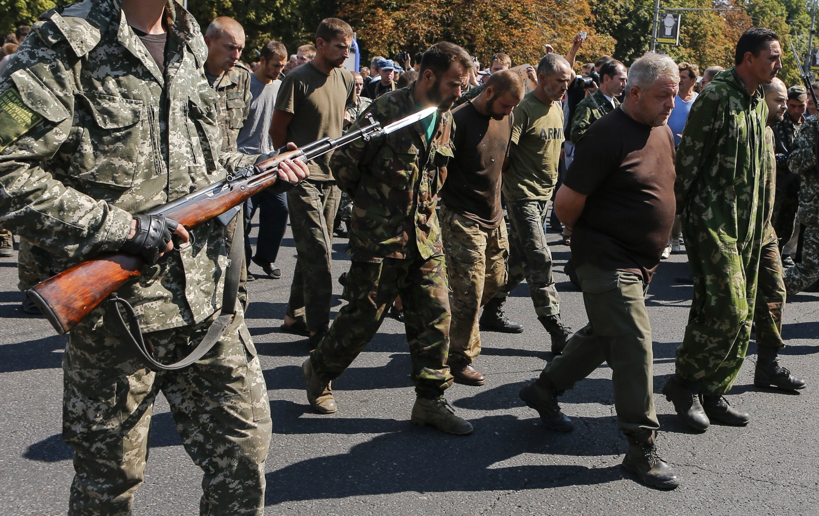 Captured Ukrainian soldiers are marched through Donetsk by pro-Russian rebels. (Reuters Maxim Shemetov)