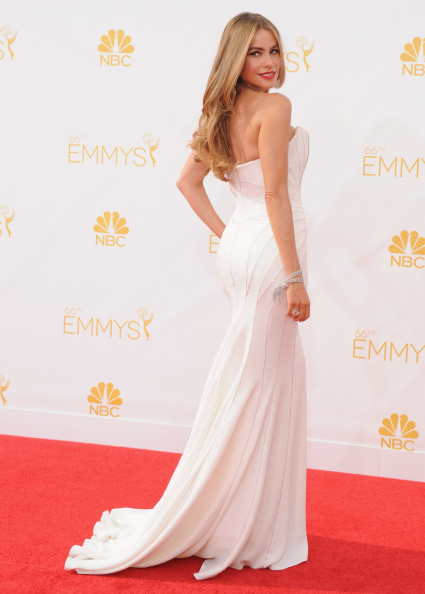 Actress Sofia Vergara arrives at the 66th Annual Primetime Emmy Awards at Nokia Theatre L.A. Live on August 25, 2014 in Los Angeles, California.