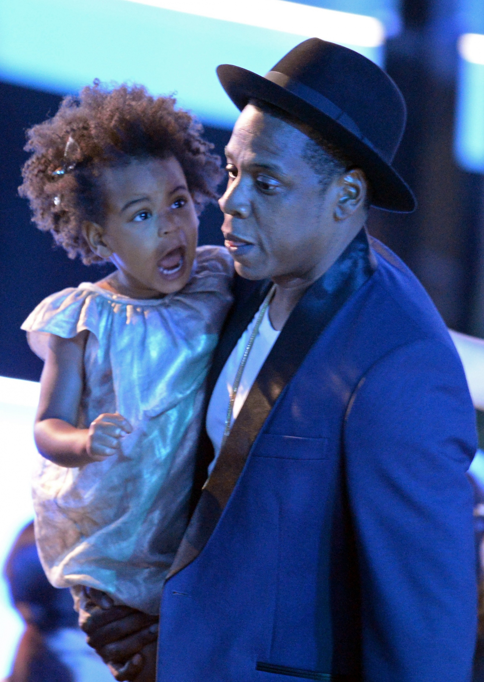 Blue Ivy Carter and Jay-Z on stage at the 2014 MTV VMAs