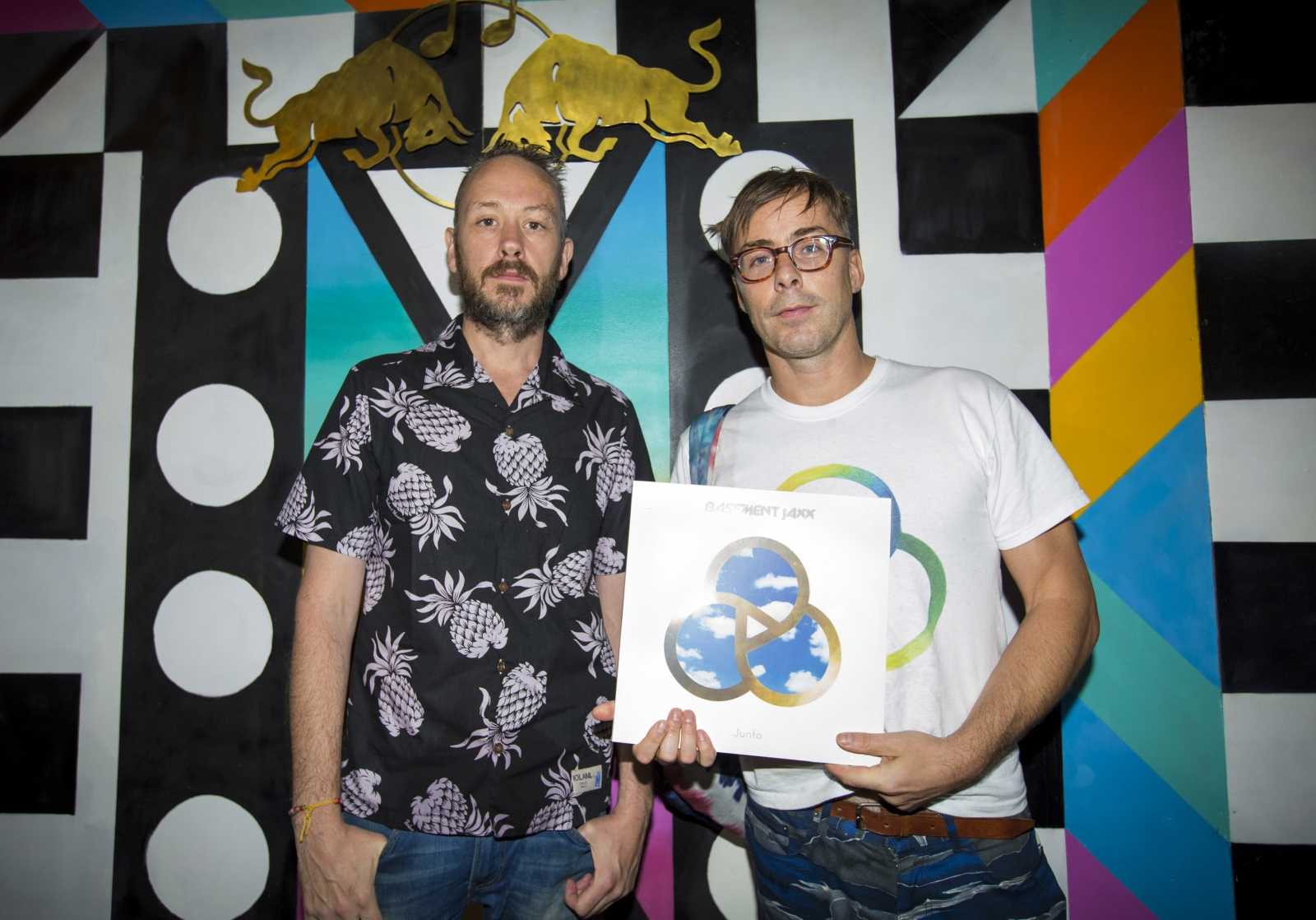 Simon Ratcliffe and Felix Buxton of Basement Jaxx backstage at the Red Bull Music Academy Sound System at Notting Hill Carnival